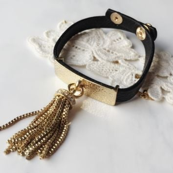 Tassel Bar Leather Wrap