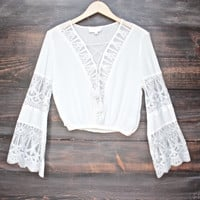 pleased to meet you bell sleeve peasant top in ivory