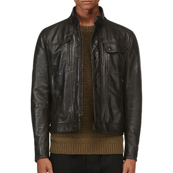 Matchless Black Creased Leather Kensington Replica Jacket