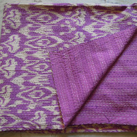 Purple Ikat Kantha Quilt Blanket - Cotton Quilted Bedspreads,Throws,Ralli,Gudari Handmade Tapestery REVERSIBLE Bedding 90x108