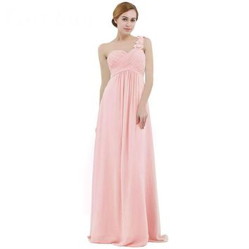 Pink Women Chiffon Bridesmaid Dress High-waist Floor Length One-shoulder Pleated Lace Wedding Party Bridesmaid Dresses Prom Gown