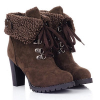 Fold Over Design High Chunky Heel Suede Boots