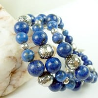 Lapis Lazuli Sterling Gemstone Southwest Design Wrap Beaded Bracelet