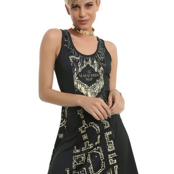Licensed cool Harry Potter & the Deathly Hallows Marauder's Map Fit & Flare Skater Dress S-XL
