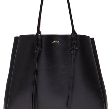 Lanvin | Shopper Bag with Fringe Detail in Black www.fwrd.com
