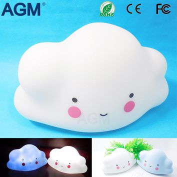 AGM Cute Mini Cloud Smile Face NightLight White Blue Cloud Lights Portable Night Lamp Bedroom Children Baby Toy Gift Room Decor