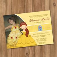 Beauty and the Beast / Belle Inspired Birthday Party Invitation with Photo (Digital - DIY)