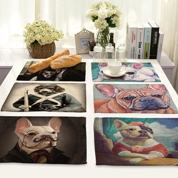 Animal Series Cotton Linen Art Heat Insulation Western-style Food Pad Cartoon Comic Gogo Printing Foreign Trade Tableware