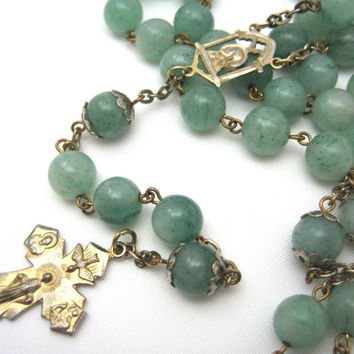 Vintage Jadeite Rosary - Large Green Jade Bead Rosary Catholic Religious Jewelry Enlighten Me Medal