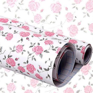 yazi Flower Rose Flower Self Adhesive Sticker Shelf Drawer Liner Peel & Stick Wallpaper Wall Sticker Home Decor 200x45cm
