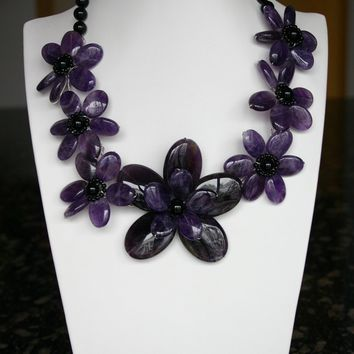 Passion Purple Amethyst And Crystal Flower Necklace