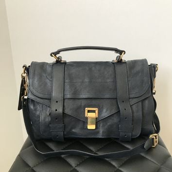Proenza Schouler 'PS1' Medium Midnight (Dark Blue) Leather Satchel