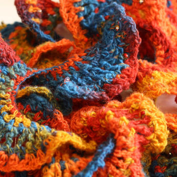 Crystal Beaded Ruffle Crochet knit yarn Scarf - Rainbow handspun yarn neck scarf - womens winter accessories