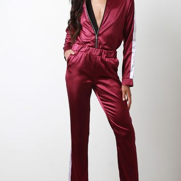 Satin Side Stripes Tracksuit Set