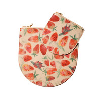 Big Strawberry Print Leather Zipper Clutch