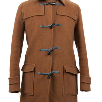 Camel Wool Toggle Button-Up Coat