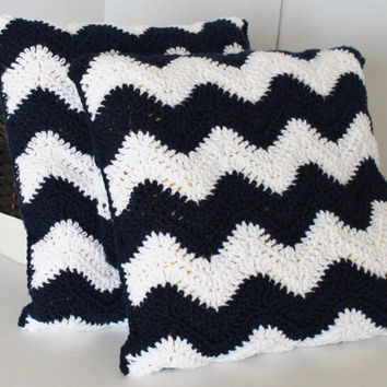 Chevron Pillow Covers- Crochet Ripple  - 16 Inch - Two Pillow Covers - Navy Blue
