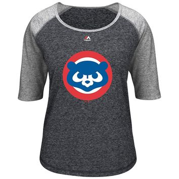 Majestic Chicago Cubs Waving Bear Tee - Women's, Size: