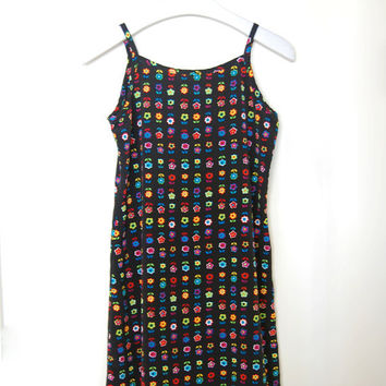VTG 90s Club Kid Neon Daisy Flower Baby Doll Dress