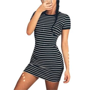 Sundress Summer Dress Women 2017 Short Sleeve Casual Striped Beach Dress Stretch Sexy Party Dresses Bodycon Vestidos Mujer LX313