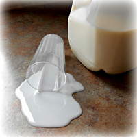 Fake Spilled Milk in a Plastic Glass Fun Food Photo Prop