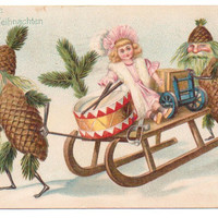 Vintage Fantasy Christmas Postcard, Pine Cone, Elves, Doll, Drum, Sled 1900s
