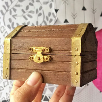 Espresso Mini Treasure Chest - Storage Box - Rustic Wooden Box - Valentine Gift Box - Doll Trunk - Jewelry Box - Keepsake Box