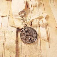 Silver YinYang Charm ADD to your DREADS Dreadlock Accessory Extension Accessories Dread Boho Bohemian Hippie Bead Yin Yang