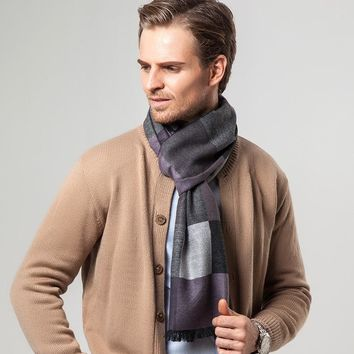 Men Scarf New Plaid Winter Foulard Echarpe Cashmere Scarves for Men
