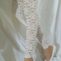 White Lace Leg Warmers, White Lace Thigh Highs, White Lace Tights, White Lingerie Hosiery, White Lace Hosiery, Bridal Hosiery, Sexy Leg Wear