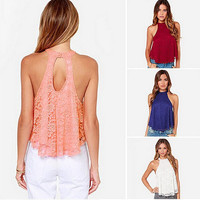 2016 European New Women T-shirts Pattern Lace Halter Neck Back Hollow Out Sexy Women's Tops  Cropped Feminine off Shoulder Blusa