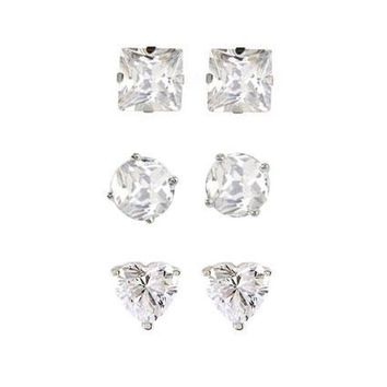 Set of Three Cubic Zirconia Stud Earrings