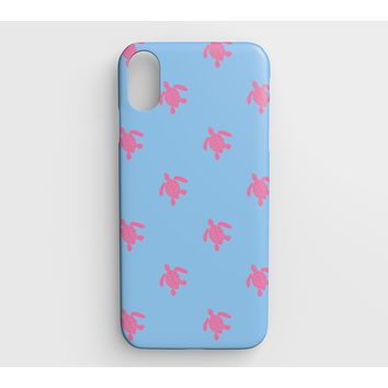 Turtle Cell Phone Case iPhone XS Max - Pink on Blue