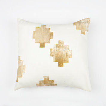 16x16 Gold and Cream Southwest Print Pillow Cover, cotton