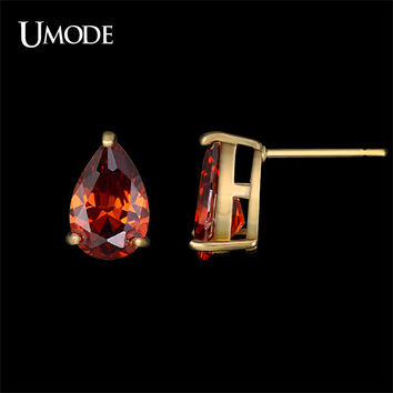 UMODE True Love Blood Single Teardrop Red Color CZ Stone Champagne Gold Color Stud Earrings Jewellry for Ladies Girls UE0149