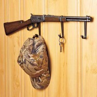 Wall Rack / Hooks Rifle Gun Outdoorsman Hunter Rustic Cabin Bath Home Decor