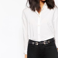 ASOS Leather Slim Double Buckle Western Belt