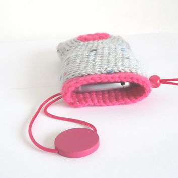 Crochet ipod cell phone case for SAMSUNG GALAXY S Hand Knit Phone Protection Cases Handbag Covers Jardin Grey /  Fuchsia cellphone cozy