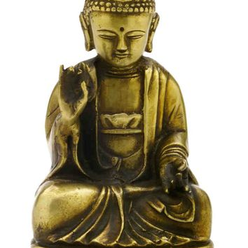 "Antique Brass Seated Buddha Shakyamuni Statue 7.5"" High Amitabha Budhism Figure"