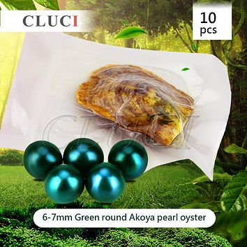 CLUCI 10pcs 6-7mm Akoya Green skittle Pearls in Oysters with vacuum-packing, Bright Colorful Round Beads for Jewelry Making