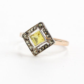 Antique 8k Rose Gold Created Yellow Sapphire & Marcasite Ring- Vintage Size 7.5 Early 1900s Edwardian Era Unique Fine Jewelry