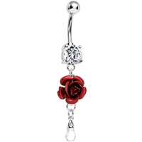 Dangle Dew Drop Crimson Red Metallic Rose Belly Ring | Body Candy Body Jewelry