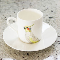 Cockatiel Print Illustrated Espresso Cup And Saucer