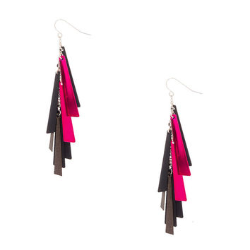 Black and Pink Slanted Bar Fringe Drop Earring
