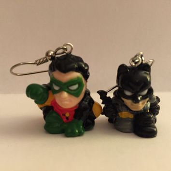 Squinkies Earrings - Batman & Robin - made from re-purposed toys