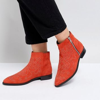ASOS AUTO PILOT Wide Fit Suede Studded Ankle Boots at asos.com
