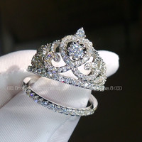 Sz 6/7/8/9/10 Retro Engagement Luxury jewelry white topaz 925 sterling silver filled Wedding Diamonique crown Ring set gift