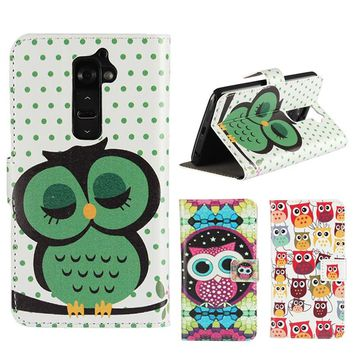 Flip Cases For LG G2 D800 D802 Leather Wallet Cover Owl Case Mobile Phone Accessories Card Slot Stand Coque Fundas Hoesjes Capa