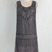 Vintage Inspired Sleeveless Shift Philharmonic of Time Dress in Smoke