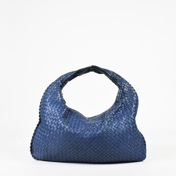 "Bottega Veneta Blue ""Intrecciato"" Leather ""Large Veneta Hobo"" Bag"